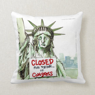 Lady Liberty Closed Sad/Funny Throw Pillow Pillows