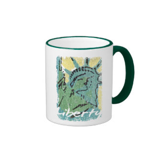 Lady Liberty Distressed Ringer Coffee Mug