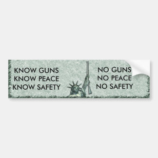 LADY LIBERTY GUN WISDOM NO GUNS? NO SAFETY! BUMPER STICKER
