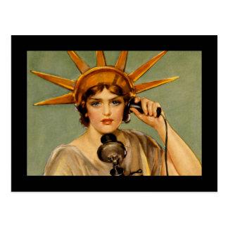 Lady Liberty on Phone WWI Postcard