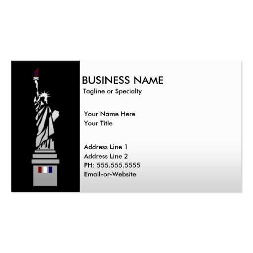 lady liberty pack of standard business cards