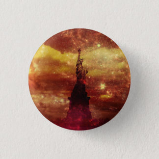 Lady Liberty red and yellow stars 3 Cm Round Badge
