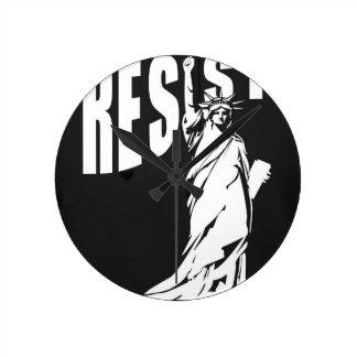 lady-liberty-resist- round clock