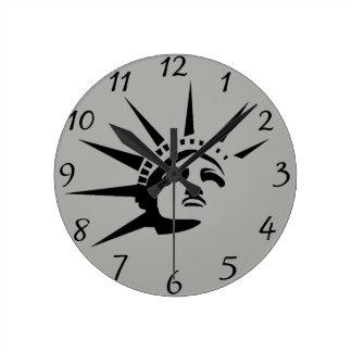 Lady Liberty Round Clock