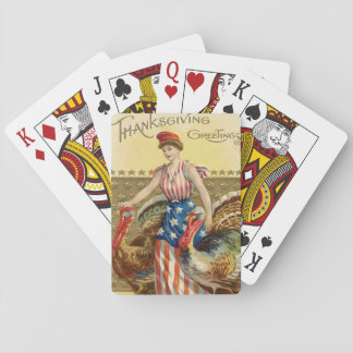 Lady Liberty Turkeys US Flag Patriotic Playing Cards