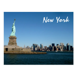 Lady Liberty Watches Over NYC color Postcards