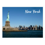 Lady Liberty Watches Over NYC (colour) Postcard