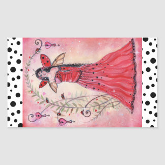 Lady love bug valentine fairy stickers by Renee