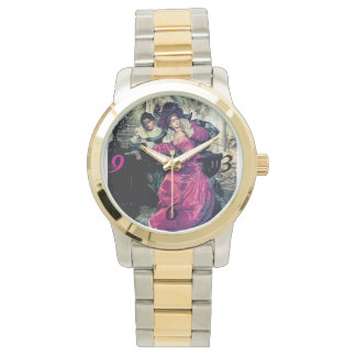 Lady love letter antique painting watch