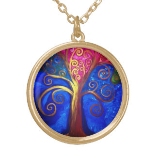 """""""Lady Love Tree"""" art by Beth Wellesley Gold Plated Necklace"""