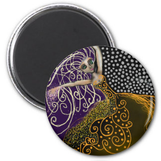 Lady Luck 6 Cm Round Magnet