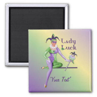 Lady Luck Harlequin Square Magnet