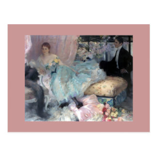 Lady Man Courtship painting Postcard