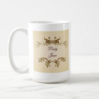 Lady Name Elegant Royal Beige Script Cup