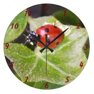 Lady nose ladybird round (large) clock