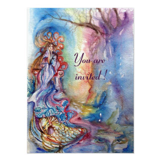 LADY OF LAKE , vibrant blue pink metallic silver 14 Cm X 19 Cm Invitation Card
