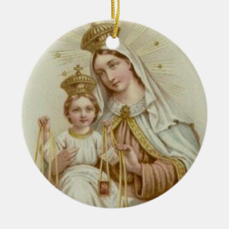 Lady of Mt. Carmel with the Baby Jesus Round Ceramic Decoration