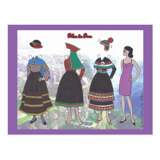 Lady of Peru Paper Doll Postcard