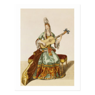 Lady of Quality Playing the Guitar, fashion plate, Postcard