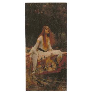 Lady of Shallot by John William Waterhouse Wood USB 2.0 Flash Drive