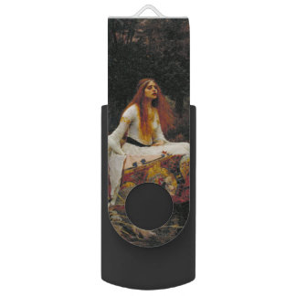 Lady of Shallot by John William Waterhouse Swivel USB 2.0 Flash Drive