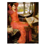 Lady of Shalott  Sitting at Her Desk Postcard