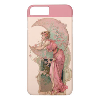 LADY OF THE MOON WITH FLOWERS IN PINK iPhone 8 PLUS/7 PLUS CASE