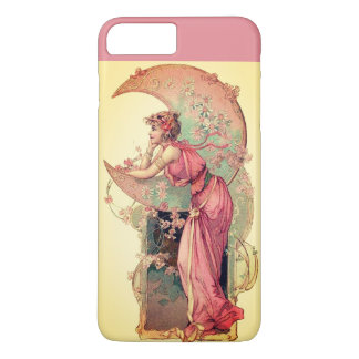 LADY OF THE MOON WITH FLOWERS IN PINK YELLOW iPhone 8 PLUS/7 PLUS CASE