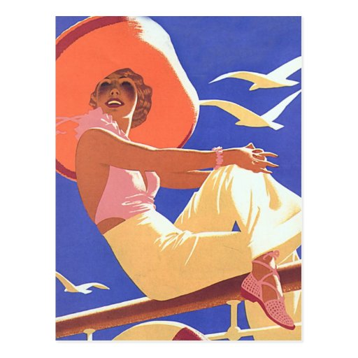 Lady On a Cruise Post Card