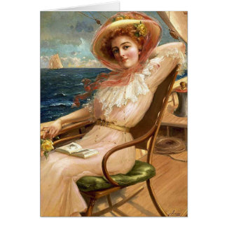 Lady On a Sailboat Deck, Card