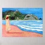 Lady on beach print