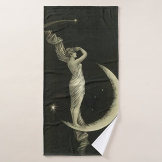lady on the moon bath towel