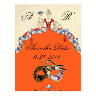 LADY ORANGE MASQUERADE  PARTY SAVE THE DATE POSTCARD