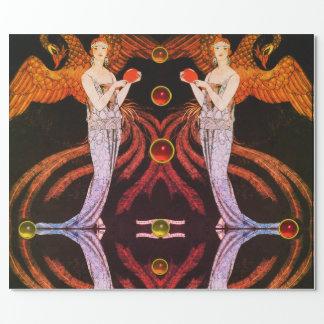 LADY PHOENIX ART DECO BEAUTY FASHION Orange Black Wrapping Paper