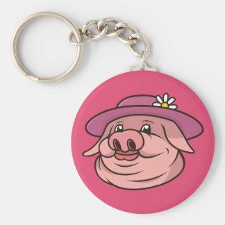 Lady Pig Portrait Pink Keychain