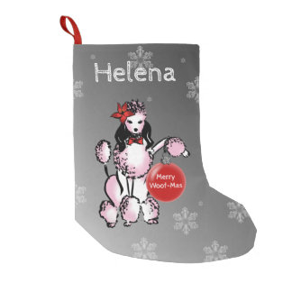 Lady Poodle shows your Christmas wishes! Small Christmas Stocking
