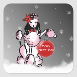 Lady Poodle shows your Christmas wishes! Square Sticker