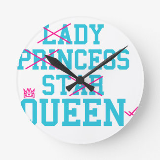Lady princess star queen round clock