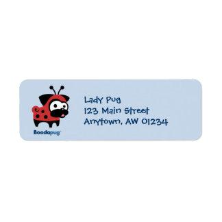 Lady Pug Return Address Label (blue)