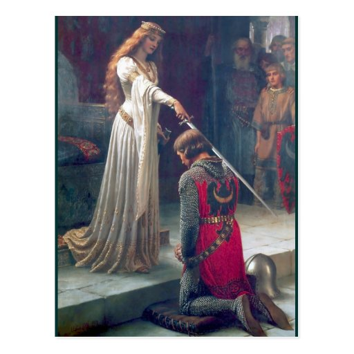 Lady queen knighting knight antique painting post cards