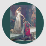 Lady queen knighting knight antique painting round stickers