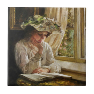 Lady Reading by a Window Small Square Tile