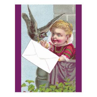 Lady Receives Mail Via Pigeon Postcard