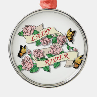 Lady Rider Metal Ornament