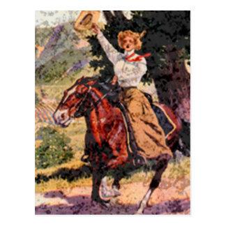 Lady rider postcard