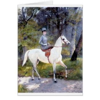 Lady Riding White Horse Painting Card