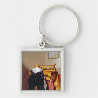 Lady seated by a Virginal Key Chains