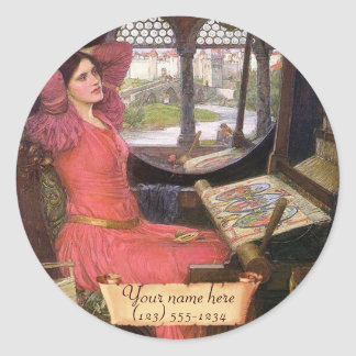 Lady Shalott Waterhouse Pre-Raphaelite Bookplate Classic Round Sticker