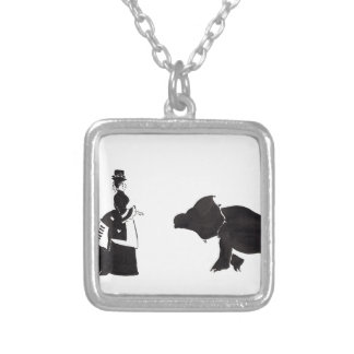 Lady Shops For A Monster Silver Plated Necklace