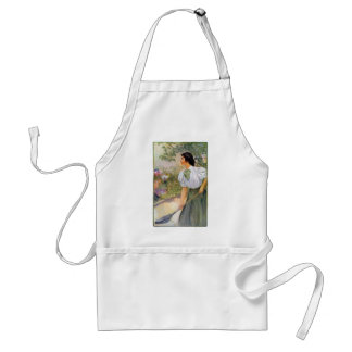 Lady Shoveling Dirt in Flower Bed Standard Apron